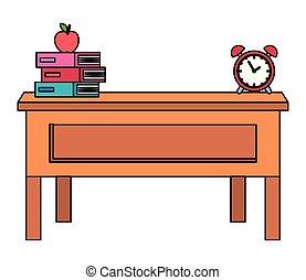 Escritorio de profesores con libros y despertador