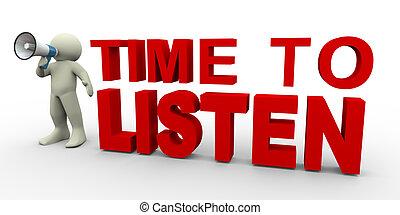 escuchar, tiempo, -, hombre, 3d