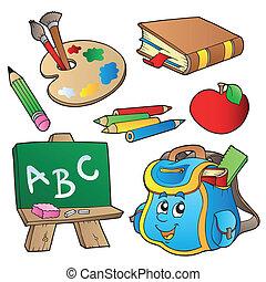 escuela, caricaturas, colección