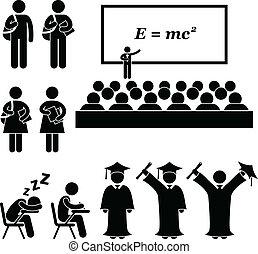 escuela, colegio, estudiante de la universidad