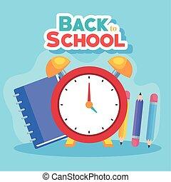 escuela, cuaderno, bandera, reloj, alarma, espalda, lápices