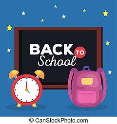 escuela, pizarra, reloj, alarma, espalda, mochila, bandera
