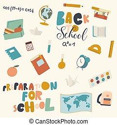 escuela, regla, conjunto, lápiz, pluma, iconos, alarma, manzana, mapa geográfico, cuaderno, libro de texto, reloj, frascos