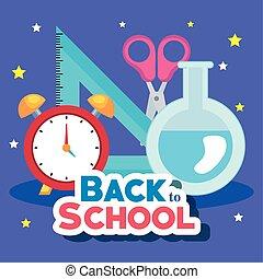 espalda, bandera, reloj, suministros, educación, alarma, escuela