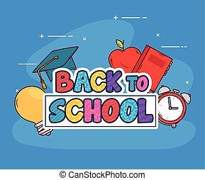 espalda, bandera, suministros, escuela, educación