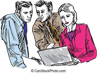 Esquela de exitosos empresarios que trabajan con portátiles en la oficina. Ilustración del vector
