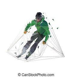 Esquiador cuesta abajo en chaqueta verde, aislado baja ilustración de vectores poligonales