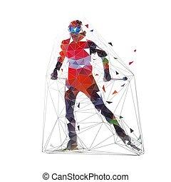 Esquiador de campo en jersey naranja, ilustración de vectores bajos poligonales, deportes de invierno. Vista frontal. Gente activa