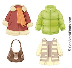 estacional, vestido, conjunto, chamarra, acolchado, girls., parka, ropa