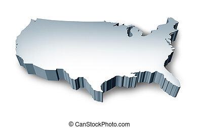 estados, mapa, unido, blanco, 3d