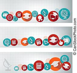Estandartes de educación con iconos. Vector