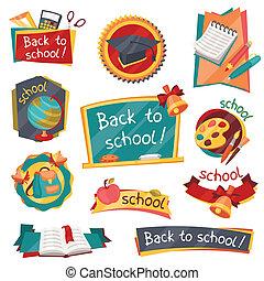 Estandartes escolares, placas con iconos educativos y símbolos.