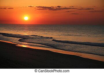 este, playa, salida del sol, costa