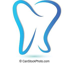 estilizado, logotipo, diente