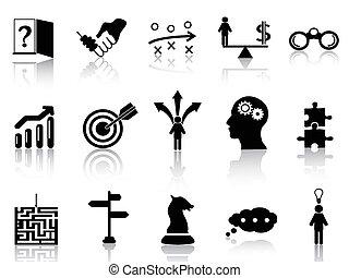 estrategia, conjunto, iconos, empresa / negocio