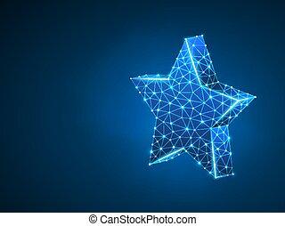 Estrella 3D con cinco rayos. Espacio poligonal bajo polígrafo con puntos de conexión y líneas. Estrella en el concepto del cielo. La estructura de alambre de conexión. Ilustración de neón Vector sobre fondo azul oscuro