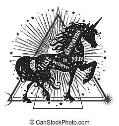 estrellas, magia, unicornio, silueta, moon.