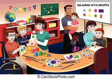 Estudiantes discapacitados en clase