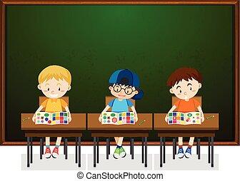Estudiantes estudiando en clase
