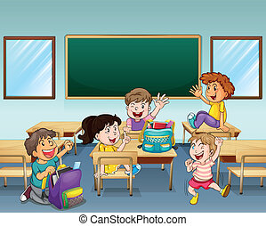 Estudiantes felices dentro de una clase