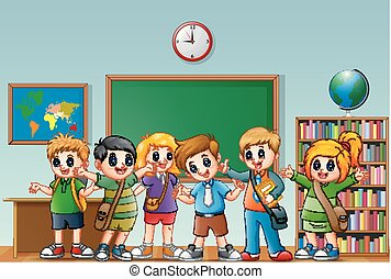 Estudiantes felices en clase