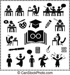 exitoso, estudio, símbolo