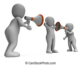 explicar, actuación, atención, intimidar, caracteres, anunciar, megáfono