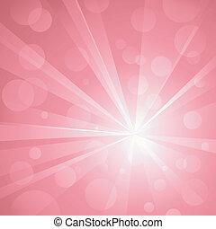 Explosión de luz con brillantes puntos de luz, golpeando fondo abstracto en tonos de rosa. Uso de gradientes radiales y lineales, colores globales. Sin transparencias. Arte agrupado y cubierto.