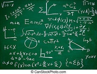 Fórmulas matemáticas en educación de pizarra escolar