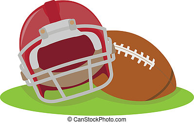 Fútbol americano. Casco y bola