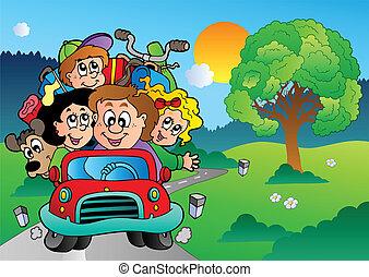 Familia en auto yendo de vacaciones