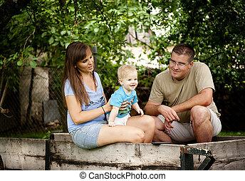 Familia en la granja