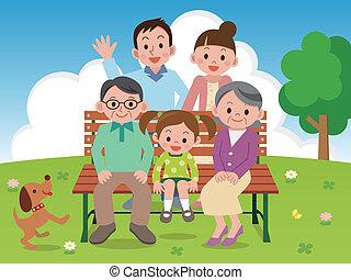 Familia feliz sentada en un parque Benc