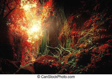 Fantasía selva tropical de colores surrealistas. Concepto el paisaje