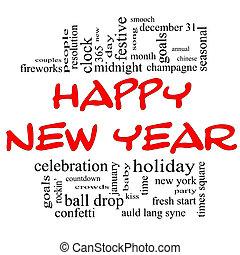 Feliz año nuevo. Nube de palabra en rojo y negro