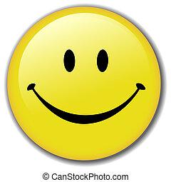 feliz, botón, smiley, insignia, cara