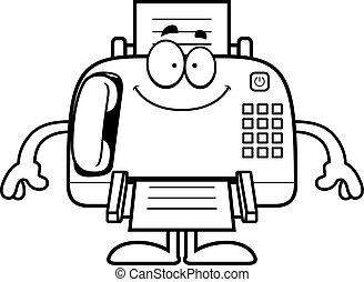 Feliz máquina de fax de dibujos animados