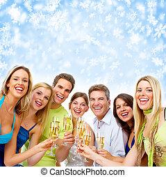 Feliz Navidad gente bebiendo champán