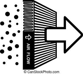 filtro, símbolo, vector, efecto, aire