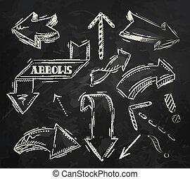Flecha estilizada dibujando en tiza