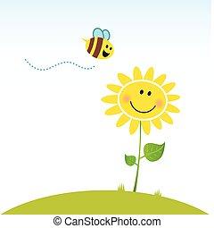 Flor de primavera feliz con abeja
