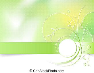 flor de primavera, fondo verde