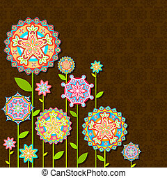 Flor retro colorida