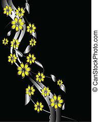 floral, plano de fondo, amarillo, plata