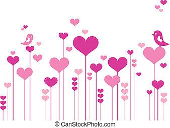 Flores de corazón con pájaros