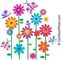 Flores primaverales y mariposas