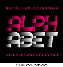 Fon del alfabeto abstracto. Efectos de velocidad letras y números.