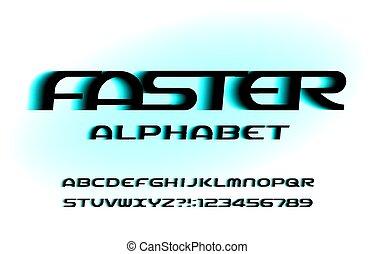 font., alfabeto, numbers., efecto, velocidad, más rápido, cartas