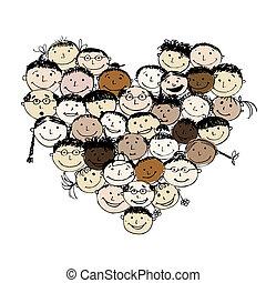 forma corazón, pueblos, diseño, su, feliz