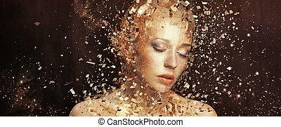 Foto de arte de mujer de oro astillada a miles de elementos